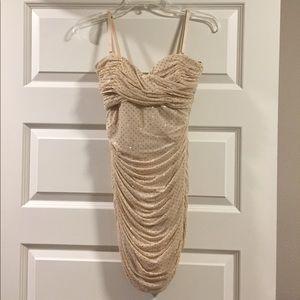Gold/beige rhinestone Bebe dress